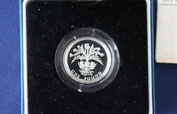 1984 United Kingdom One Pound Silver Proof Royal Mint Andpound1 Coin And Case E4016