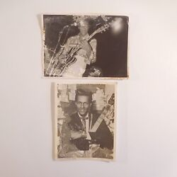 2 Photographs Black And White Film Cameras Chuck Berry Vintage 1950 France N3416