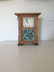 Arts And Crafts Clock Rift Oak Pacific Blue Painted Tile, Greene Style,mission