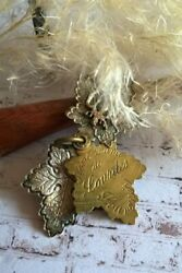 Antique Silvered And Brass French Memory N.d. De Lourdes Slider Charm Pendant