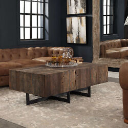 54 L Weber Coffee Table Natural Reclaimed Elm Wood Modern Industrial Iron Base