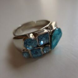 Woman Ring Lbp Magnet Silver Plated 6 Stones Blue Jewel Fantasy N4116