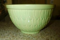 Rarevintage1940s Mccoy Usa Green Pottery Mixing Bowl Fish Scale Pattern Nice