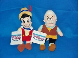 Disney Store Pinocchio Geppetto Pair Wooden Boy Marionette Beanbag Plush 8 Tag