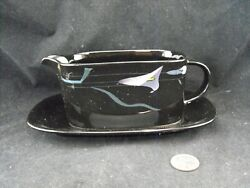 Mikasa Galleria Fk701 Opus Black Gravy Boat With Underplate Relish Look New