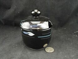 Mikasa Galleria Fk701 Opus Black Jelly Condiment Pot With Notch In Lid New