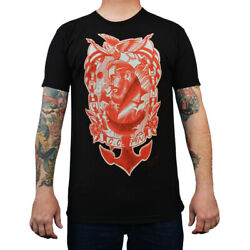 Menand039s Anchors Away By Charlie Coffin Sailor Neo Traditional Tattoo Black T-shirt