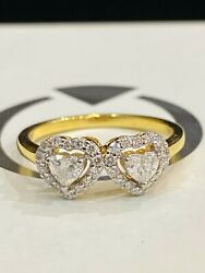 0.55 Cts Heart Round Cut Diamonds Engagement Band Ring In 750 Stamped 18k Gold