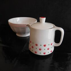 1 Pitcher Milk Coffee Tea + 1 Bowl Porcelain Tognana Made Italy Pn France N3108