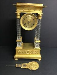 Baccarat Mantle Clock With 4 Clear Colums