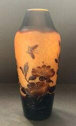 Large Galle French Etched Glass Vase 12.5andrdquo Beautiful Piece