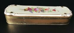 Vintage Porcelain Topped Metal Box With Porcelain Tray Insert