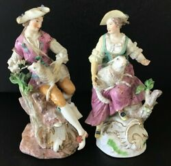 Meissen 18th Century Porcelain Pair Of Figures With Sheep