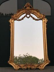 Hand Carved Gold Leaf French Mirror In Louis Xvi Style - Worldwide Shipping