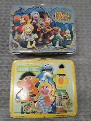Vintage Fraggle Rock And Sesame Street Metal Lunch Box Henson Muppets No Thermos