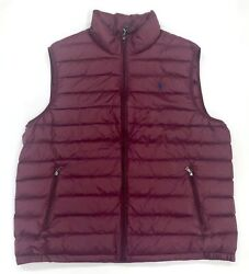 Polo Menand039s Burgundy Big And Tall Lightweight Packable Down Vest