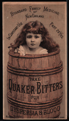 Victorian Trade Card Quaker Bitters Dyspepsia And Blood 1885 Rustic Beauty Vtc-a1