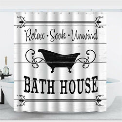 Black And White Farmhouse Shower Curtain 72×72 Rustic Bath Curtain With Hooks