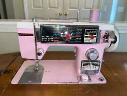 Morse Deluxe 4500 Zig Zag Sewing Machine Pink Built In Cabinet Mcm Vintage 60's