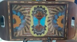 Vintage Iridescent Butterfly Wings Inlay Wood Serving Tray Woodenware Art