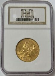 1894 Gold United States 10 Liberty Head Eagle Coin Ngc Mint State 63