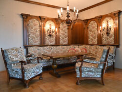 Rustic Dining Room Set Large Sitting Area With Table And Lamps