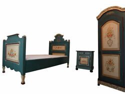 Blue Bedroom Furniture Set Country Style Solid Wood