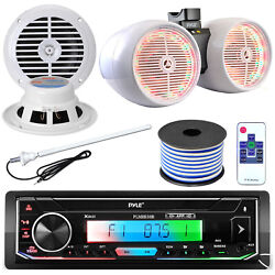 Pyle Plmrb38b Stereo 8 White Led Tower Speakers 6.5 Speakers Antenna Wire