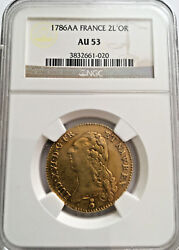 1786 Aa France 2 Louis Dand039or Ngc Au-53 Gold Rare Coin