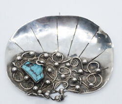 Magnificent Signed Vintage Mary Gage Sterling And Turquoise Pendant Brooch