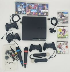 Used Ps3 Console Singstar Mics Motion Controller Extra Controllers Games Lot