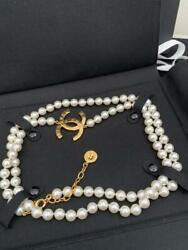 Unused Long Necklace Pearl Coco Mark Gold All Accessories Total 110cm