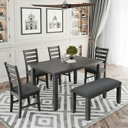 Dining Room Table And Chairs With Bench,rustic Wood Dining Set,set Of 6,kitchen