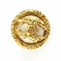 Earrings Coco Mark Pearl Gold Round 27mm X 27mm With Season Plate