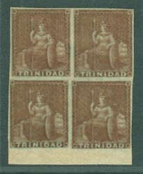 Sg 7 Trinidad 1853. 1d Brownish-red. A Very Fine Mint Block Of 4. 1 Stamp