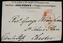 House Of Commons 1d Black Front Sent To Chester. Neat Crown Paid In Red Sg