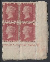 Sg 43 Great Britain 1864-79. 1d Red Plate 86 Lower Right Of Sheet Marginal