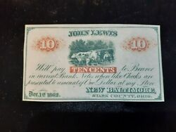 1862 10 Cents Obsolete Currency New Baltimore Stark County Ohio John Lewis