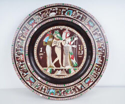 Large Antique Egyptian Mother Of Pearl Inlaid Wood Charger 19.5andrdquo