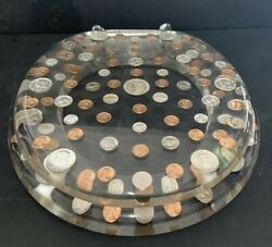 Antique Collectible Acrylic Toilet Seat With U.s. Coins