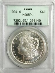 1904 O Us Morgan Silver 1 Dollar Pcgs Mint State 65 Proof Like Old Green Holder