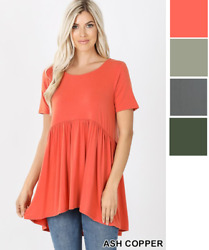 Womens Babydoll Tunic Top Short Sleeves Blouse Round Neck Solid Causal Usa