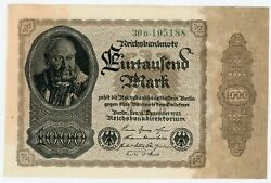 Germany ... P-82a ... 1.000 Mark ... 1922 ... Choice Unc Serial Style Variety