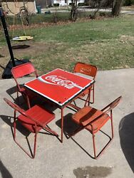 Vintage 1950's Coca Cola Metal W/porcelain Top Folding Table And Chairs