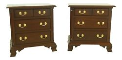 L32558ec/59ec Pair Stickley Mahogany 3 Drawer Nightstand Chests