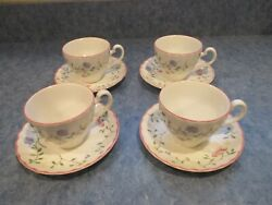 Lot Of 4 Johnson Brothers Summer Chintz Cups And Saucers Discontinued