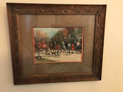 """Antique Framed/matted Awaiting The Call"""" Heywood Hardy Fox Hunt Litho"""