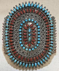 Victor Moses Begay Navajo Silver Coral And Sleeping Beauty Turquoise Bracelet
