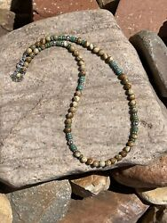 Navajo Serpentine And Green Turquoise Sterling Silver Navajo Pearl Beaded Necklace