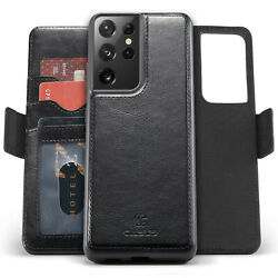 Removable Leather Wallet Magnetic Card Case For Samsung Galaxy S21 Ultra S20 FE